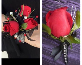 Custom made prom corsage and boutonnière set