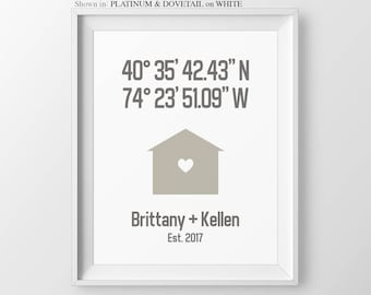 Personalized Housewarming Gift House Coordinate Print for Couple Latitude Longitude Anniversary Gift Couple New Home Gift Bridal Shower Gift