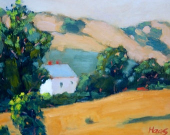Landscape Plein Air Oil Painting Original Wall Art San Francisco Bay Area Benicia Guard House Historical Fairfield California Artist Artwork