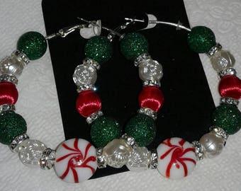 Christmas peppermint hoop earrings