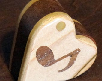Heart Box Handmade From Exotic Woods with Music Note Inlay