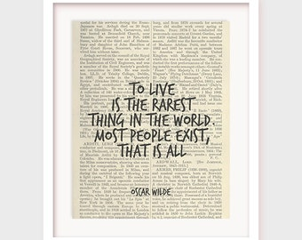 DIY Wall Decor, To Live is The Rarest Thing in The World, Most People Exist, That is All, Oscar Wilde Quote, Printable Poster Art, Download