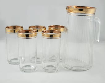 5 glasses and a pitcher made in Italia - Mid century/vintage