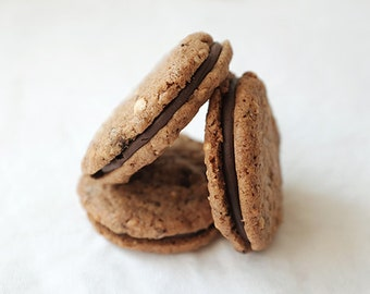 Hazelnut Whisky Sandwich Cookies, Chocolate Whisky Cookies