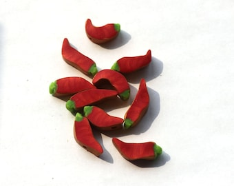 Hot Pepper Beads, Polymer Clay Beads,  Red Chili Slices, Jalapeno Beads 10 Pieces