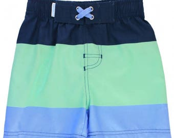 Mint & Blue Color Block Swim Trunks