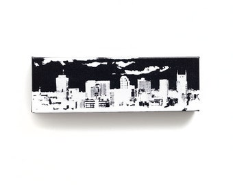 Nashville Skyline Canvas (12 x 4 inches, Black with White) Cityscape Art - Screen Print and Painting Home Decor