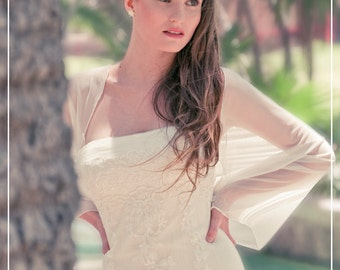 Plus Größe Elfenbein Braut Shrug, 4 Optionen Hochzeit Wrap - Schal, Achselzucken, verdrehten Schal und Loop-Schal. Elfenbein Hochzeit schiere abdecken CF107ps