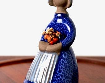 Vintage Flower Girl figurine vase Elsi Bourelius Jie Gantofta Sweden 1960s - mid century retro home decor Scandinavian Danish modern pottery