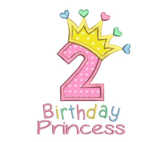 2nd Birthday Applique Machine Embroidery Design Princess