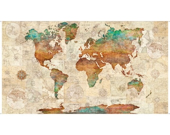 """Pre-order: 24"""" panel, World Map Panel in Multi from the Wanderlust collection for Quilting Treasures #1649 26726 -X-15O by the panel"""