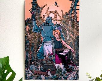 "Fullmetal Alchemist poster - Edward & Alphonse - 12 x 18"" illustration, wall art, poster print, anime, art, fine art print, poster, manga"