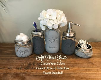 Rustic Bathroom Decor, Mason Jar Bathroom Set, Mason Jar Decor, Bathroom Set, Rustic Decor, Bathroom Storage, Mason Jar, Gray