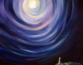 Moon and a Lighthouse, Surreal Landscape Painting - Canvas Print