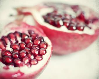 "Pomegrante print - fruit still life - food photography - kitchen wall art - dining room decor - square print ""Pomegranate Love"""
