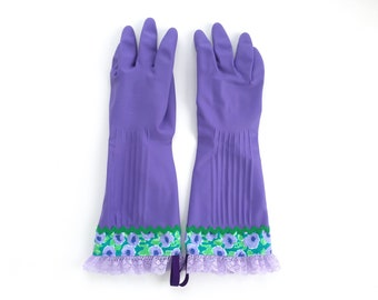 Designer Cleaning Gloves. Size Small and Large. Purple Flowers, Green Rick Rack and Lavender Lace. Dishwashing Latex Kitchen Gloves.