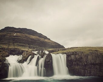 "Waterfall Photograph, Landscape Photography, Snaefellsnes Iceland, Photo Prints, Mountain Wall Art, Nature Print ""Moving Through Time"""