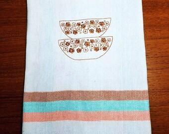 Vintage Pyrex bowls design embroidered tea towel kitchen towel