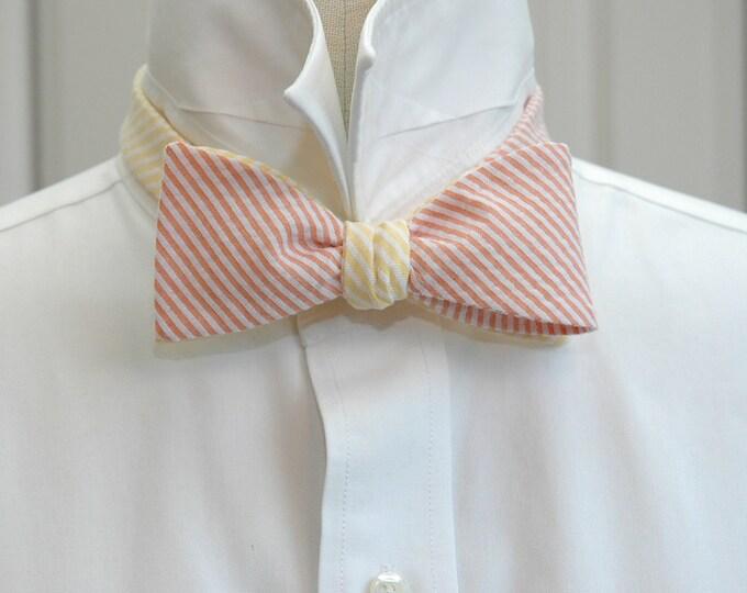 Men's reversible Bow Tie in orange & yellow seersucker, self tie, wedding party tie, groom's wear, groomsmen gift, wedding accessory