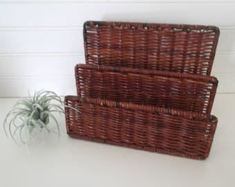 Wicker Mail Organizer, Wicker Letter Holder, Wicker Storage Basket, Desk Organizer, Boho Wicker, Woven Storage Basket