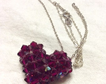 Sterling silver chain faceted glass beads heart necklace.