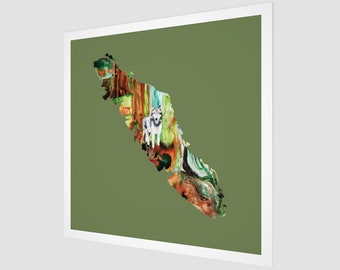 Vancouver Island Wolf Watercolor Art Print Green Minimalist