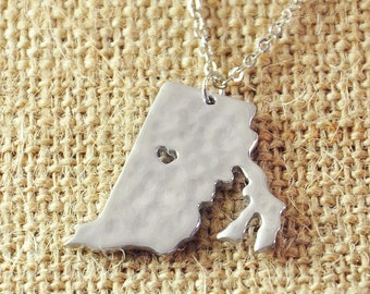 Custom Rhode Island necklace, Personalized hammered necklace, State Map pendant, map jewelry, state charm necklace, Customized any map