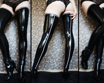 Thigh-high latex stockings with back seam - made to measure