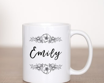 Personalize with Your Name - Custom Coffee Mug - Black Floral - Flowers