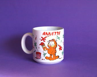 Garfield 1978 Annette Mug - Vintage Enesco Collectable Garfield Cartoon Jim Davis Personalized Mug - United Feature Syndicate Inc