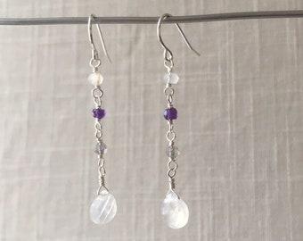 Moonstone, Amethyst & Labradorite Drop Earrings