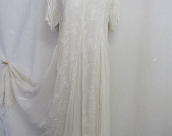 White Peasant Dress Wedding Dress Crinkle Dress Boho Hippie Wedding Dress
