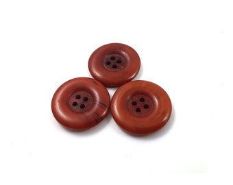 Rust Plastic Sewing Button - set of 3 Vintage sewing buttons 29mm