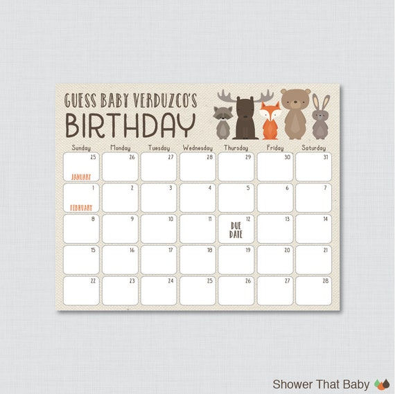 Guess The Birth Date Baby Shower Game: Woodland Baby Shower Birthday Predictions Printable Baby