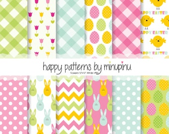 Easter Digital Paper, Easter Patterns with easter bunny, easter eggs, rabbits, chicken, flowers, gingham, dots and chevron, printable paper