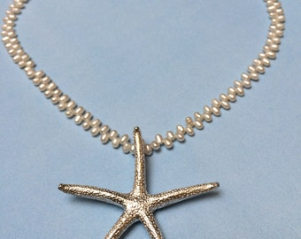 Large Starfish Pendant Solid .999 Fine Silver on Fresh Water Pearls Sterling Extender