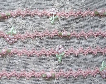 Peach Pink Braided Ribbon Trim Satin Rose Bud Flower Leaf Rhinestone Beaded Scrapbook Journal Card making Baby Doll Quilt