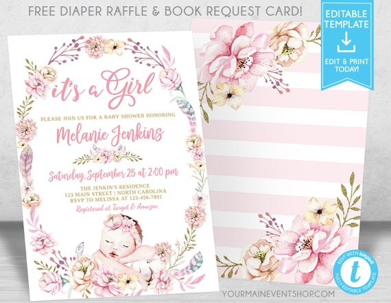 Girl Baby Shower Invitation, Boho Floral Garden Flowers Baby Shower Invitation, Chic Baby Shower Invite, Book Request, Diaper Raffle Card