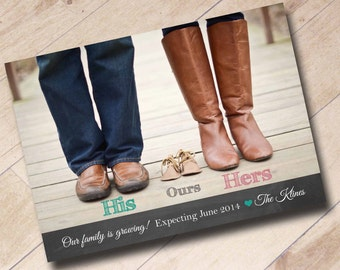 We're Expecting Announcement Shoe Photo Digital Printable His Hers Ours Chalkboard