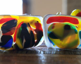 Fused Glass Art Candle Holders Tea Light Candle Votives - Set of Two 2