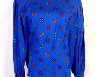 vtg 70s 80s Koret Career Petites Blue Geometric Blouse Top Lace Peter Pan 8P
