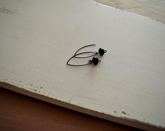 c a m i l a . Sugilite earrings. Purple gemstones with oxidized sterling silver. Simple luxe drop earrings.