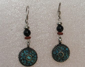 SALE Silver tone and Turquoise Inlay Earrings