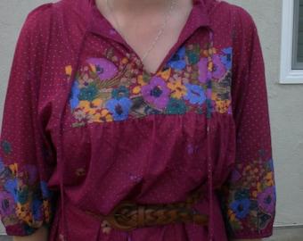 Vintage womens 1970's floral boho/hippie dress. size M/L