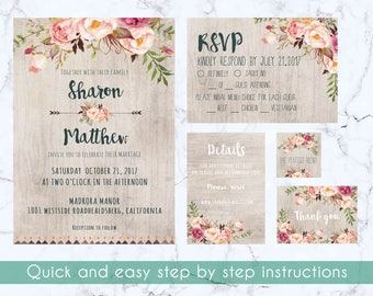 Wedding invitation suite, invitation template, RSVP, Thank you card, favor tag, details card, floral invitation set