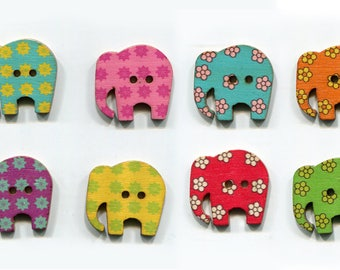 set buttons elephants 3cm mixture of colors, flowers, wood