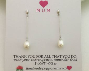 Silver Pearl Dangle Earrings, Freshwater Pearl Earrings,Pearl Drop Earrings, Sterling Silver ,June Birthstone, Mothers Day Jewelry, Mom