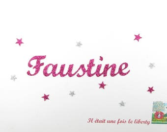 Applied fusible personalized name to 8 letters (example, Faustine) glittery fabric (colors)