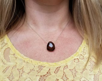 Chunky faceted smoky quartz choker on sterling silver chain