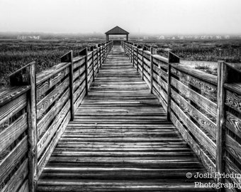 Hilton Head Fishing Pier, Black and White Photograph, South Carolina, Landscape Photography, Marsh, Lowcountry, Wood Grain, Gazebo, Fog